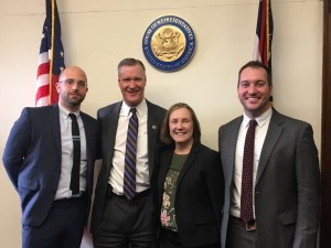 Cory Schmidt (far left), Claudia Herrold (center) and Garth Weithman (far right) met with Rep. Stivers (center) during Foundations on the Hill 2017.
