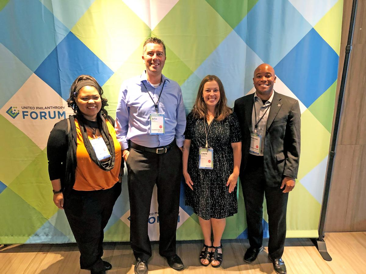 Adrienne Wells, John Gest, Laura Smith and Vincent Coleman attended the Forum Conference among other Philanthropy Ohio staff.
